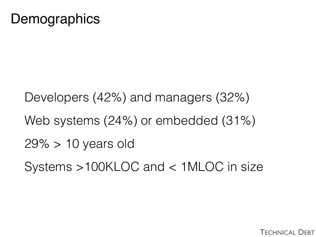 Demographics Developers (42%) and managers (32%...