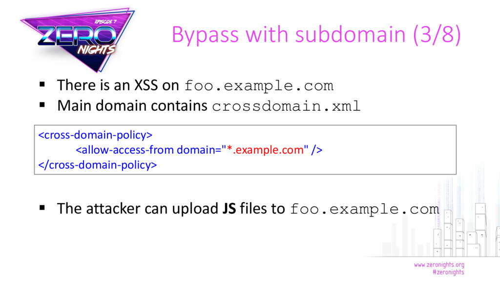  There is an XSS on foo.example.com  Main dom...