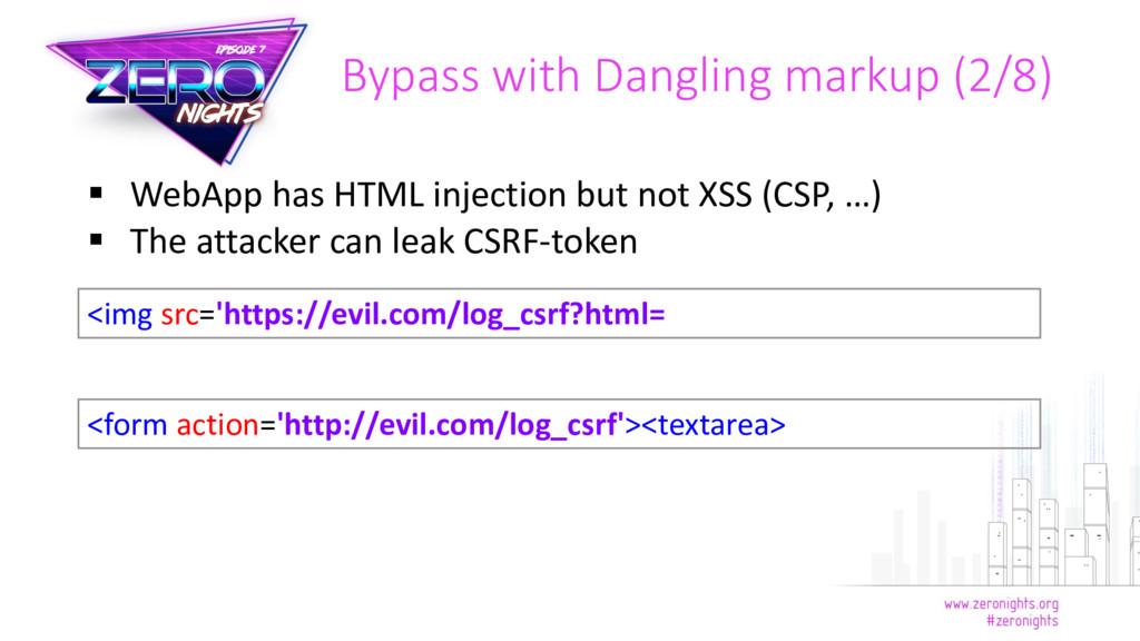  WebApp has HTML injection but not XSS (CSP, …...
