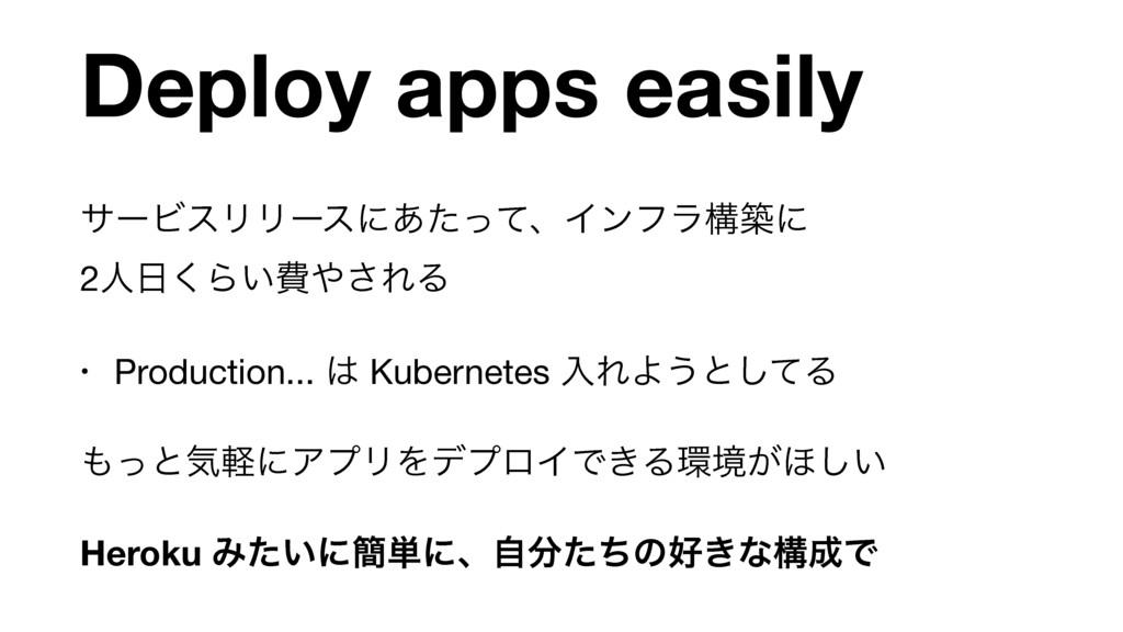 Deploy apps easily αʔϏεϦϦʔεʹ͋ͨͬͯɺΠϯϑϥߏஙʹ 2ਓ͘Β...