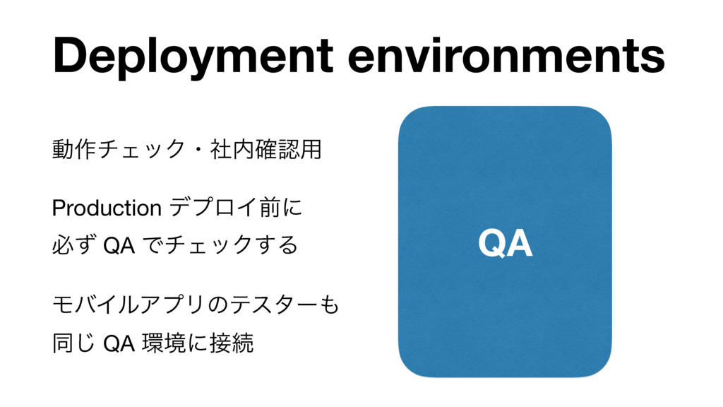 Deployment environments QA ಈ࡞νΣοΫɾࣾ֬༻  Produc...