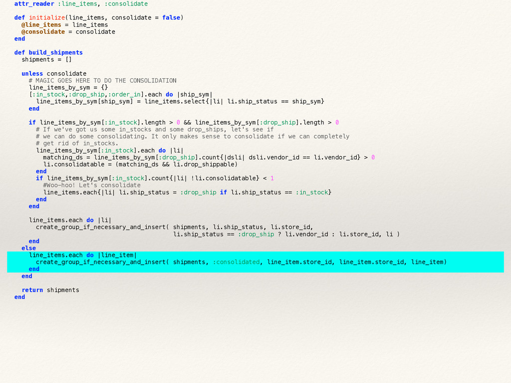 attr_reader :line_items, :consolidate def initi...
