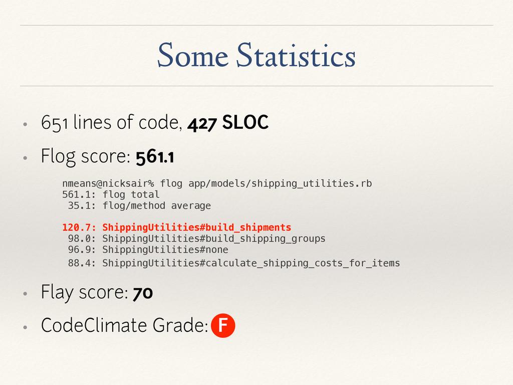 Some Statistics • 651 lines of code, 427 SLOC •...