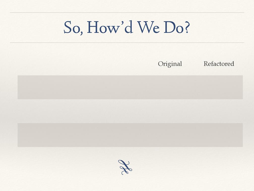 So, How'd We Do? Original Refactored 3
