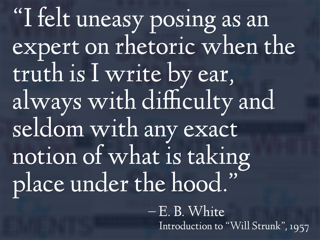 """I felt uneasy posing as an expert on rhetoric ..."