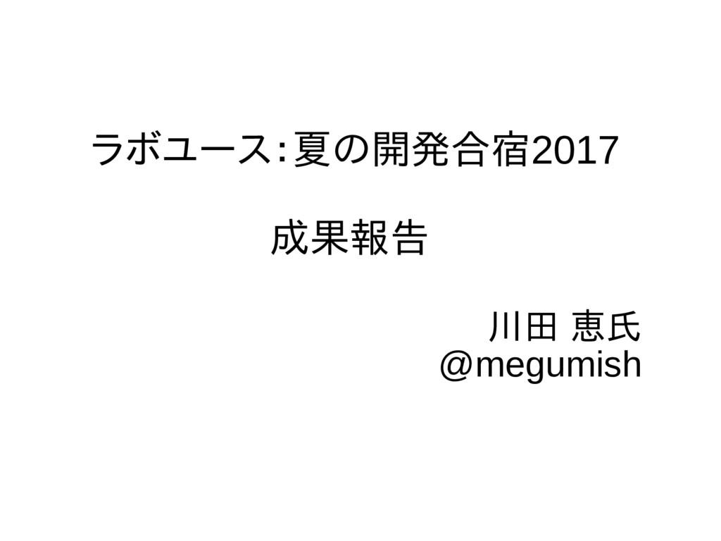 ラボユース:夏の開発合宿2017 成果報告 川田 恵氏 @megumish