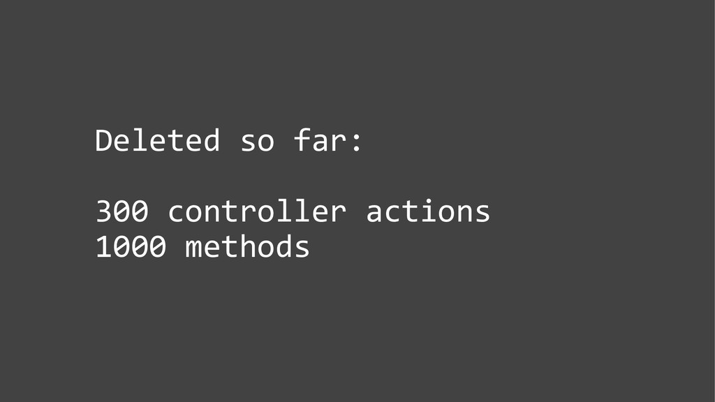 Deleted so far: 300 controller actions 1000 met...