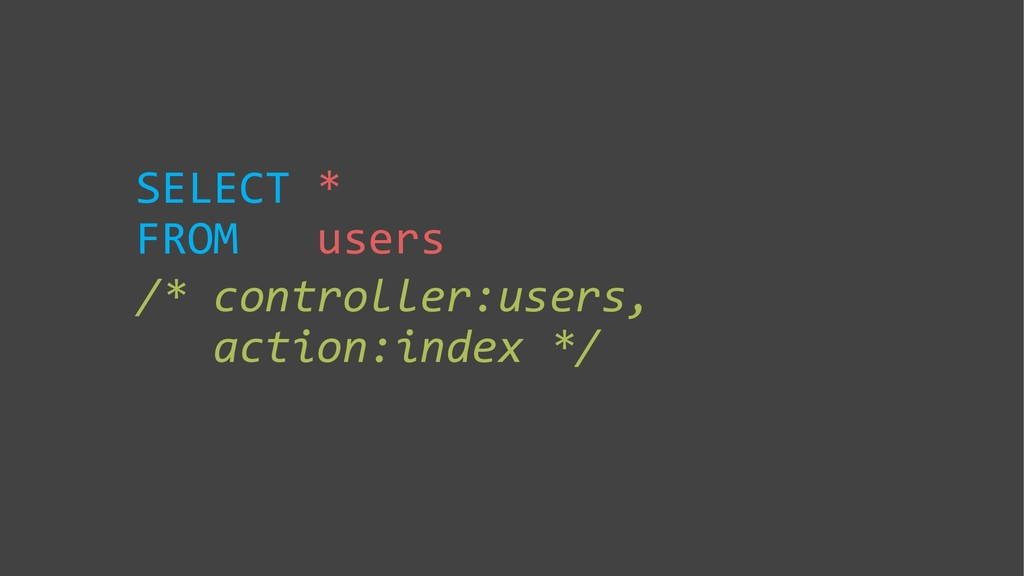 SELECT * FROM users /* controller:users, action...