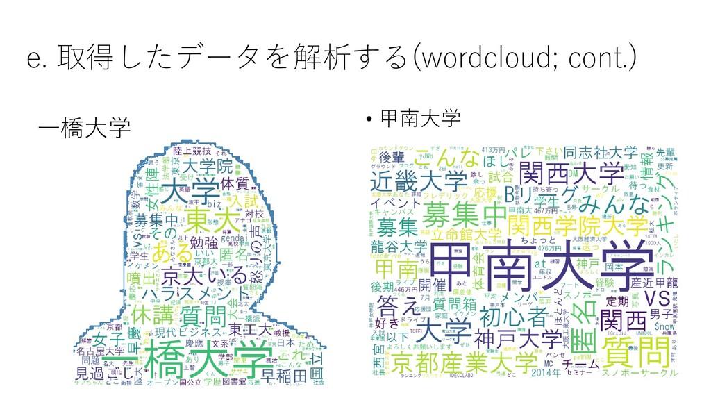e. 取得したデータを解析する(wordcloud; cont.) • 甲南大学 一橋大学