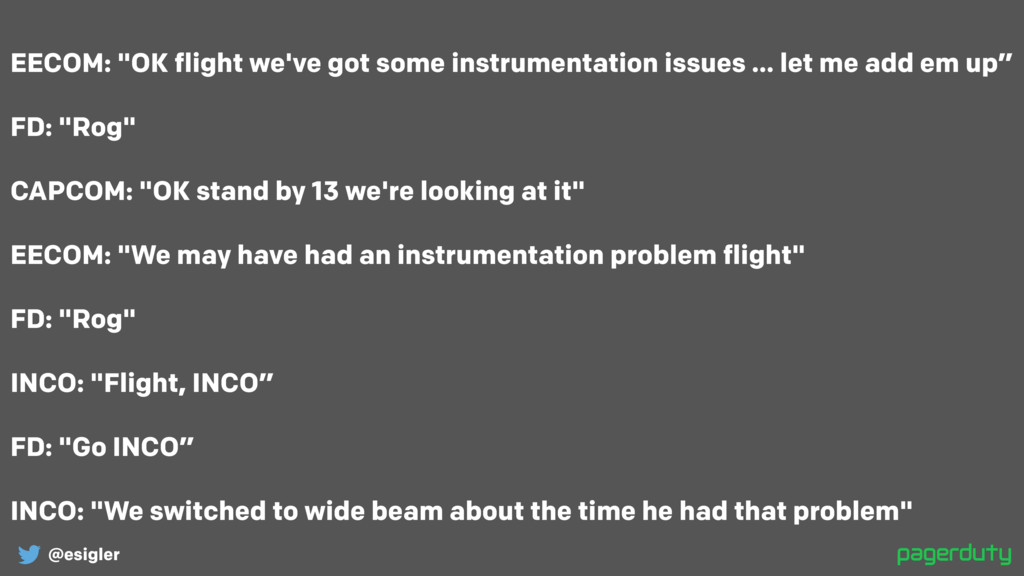 "@esigler EECOM: ""OK flight we've got some instr..."