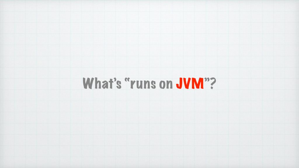 "What's ""runs on JVM""?"