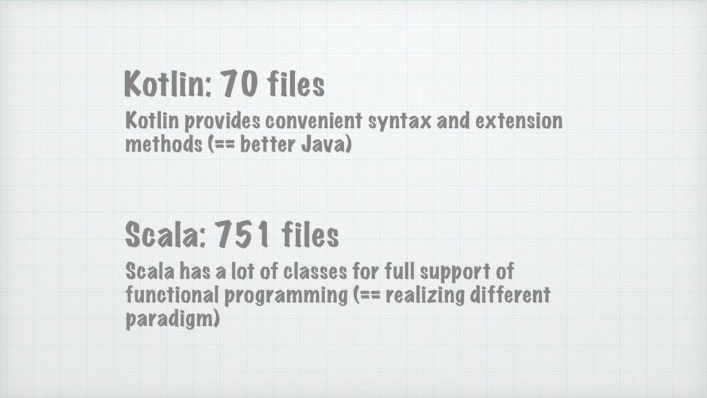 Kotlin: 70 files Scala: 751 files Kotlin provid...