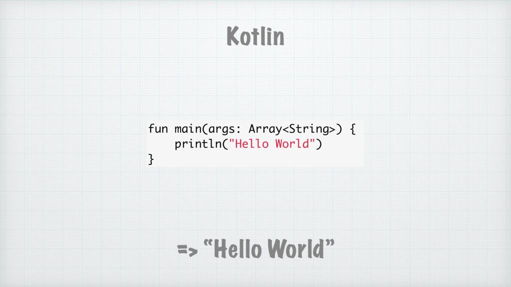 """Kotlin => """"Hello World"""" fun main(args: Array<St..."""
