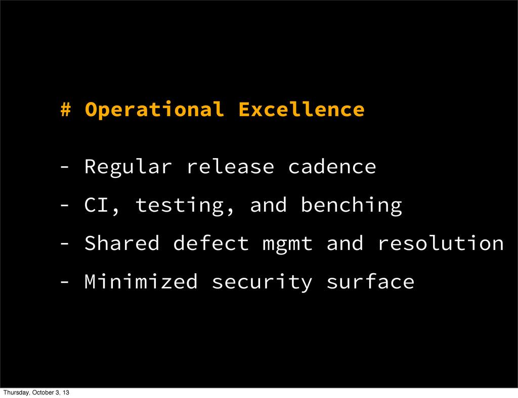 # Operational Excellence - Regular release cade...