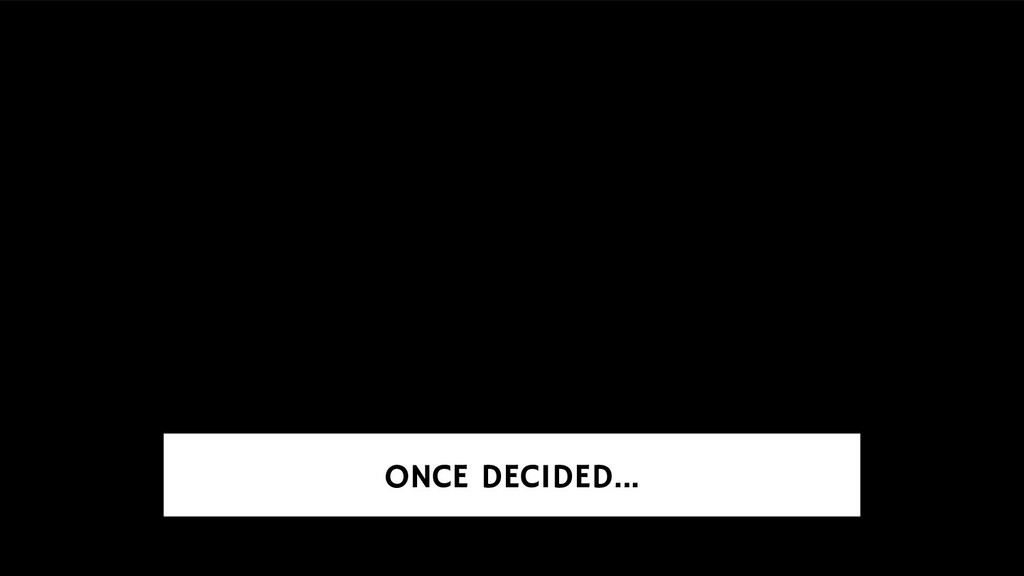 ONCE DECIDED...