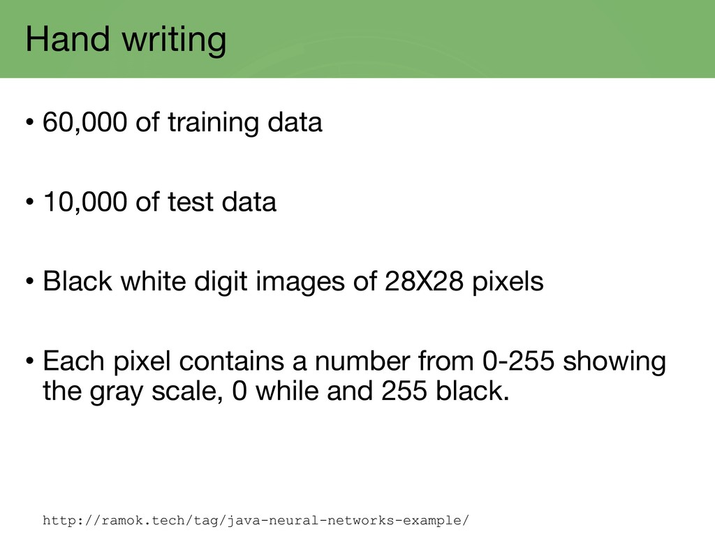 Hand writing • 60,000 of training data • 10,000...