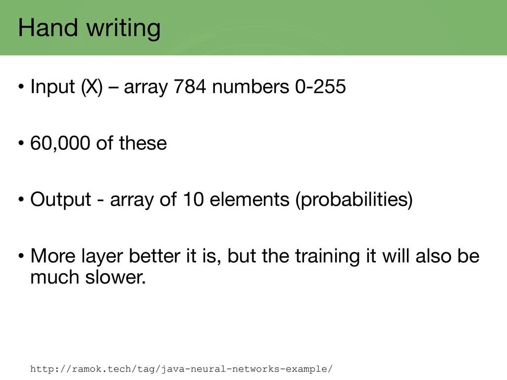 Hand writing • Input (X) – array 784 numbers 0-...