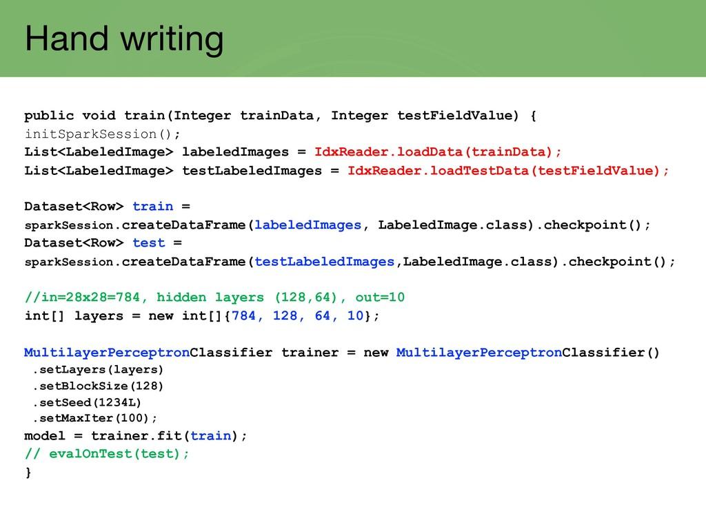 Hand writing public void train(Integer trainDat...
