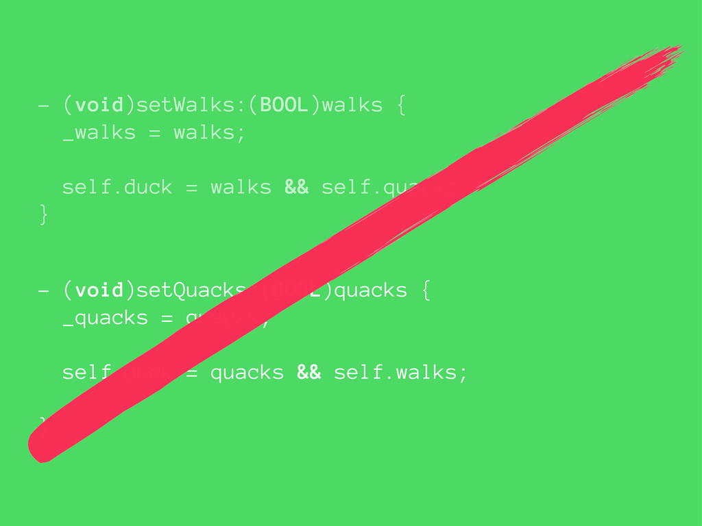 - (void)setWalks:(BOOL)walks { _walks = walks; ...