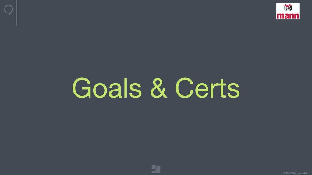 © JAMF Software, LLC Goals & Certs