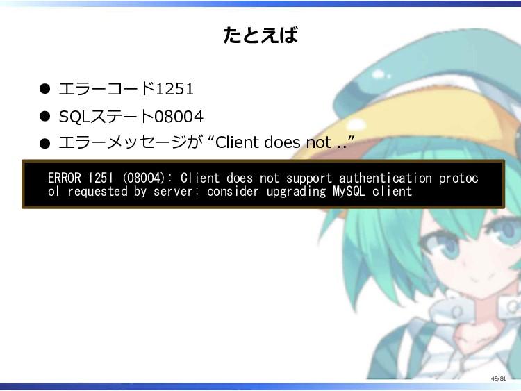 """たとえば エラーコード1251 SQLステート08004 エラーメッセージが """"Client ..."""