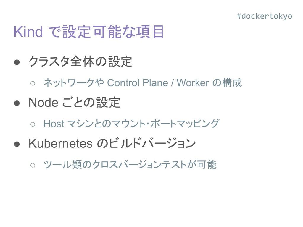 Kind で設定可能な項目 ● クラスタ全体の設定 ○ ネットワークや Control Pla...