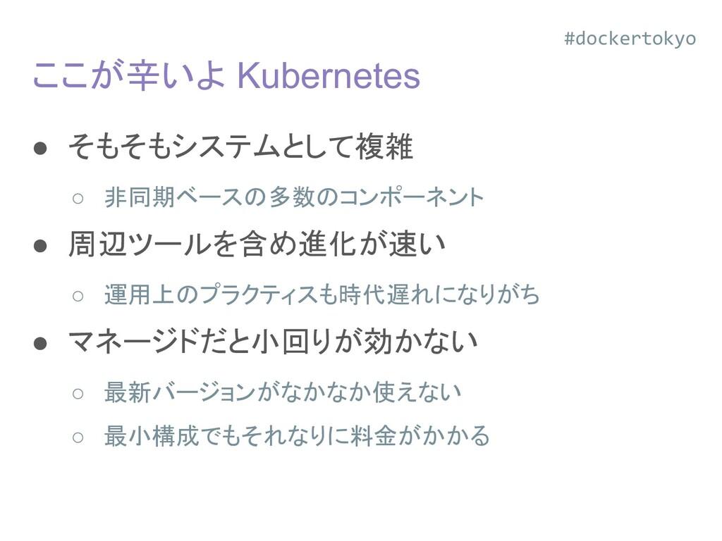 ここが辛いよ Kubernetes ● そもそもシステムとして複雑 ○ 非同期ベースの多数のコ...