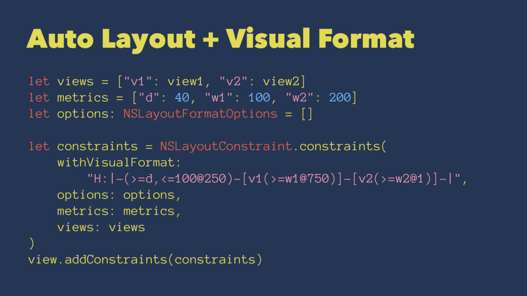 "Auto Layout + Visual Format let views = [""v1"": ..."