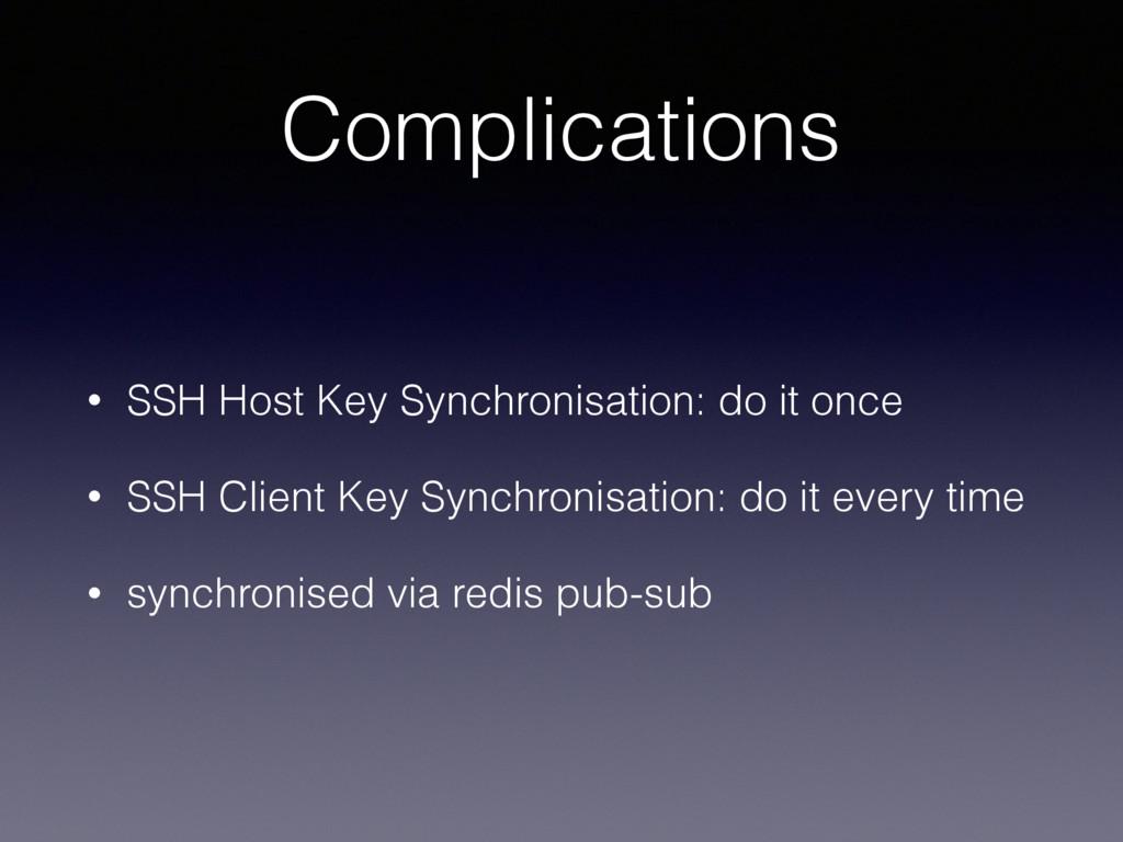 Complications • SSH Host Key Synchronisation: d...