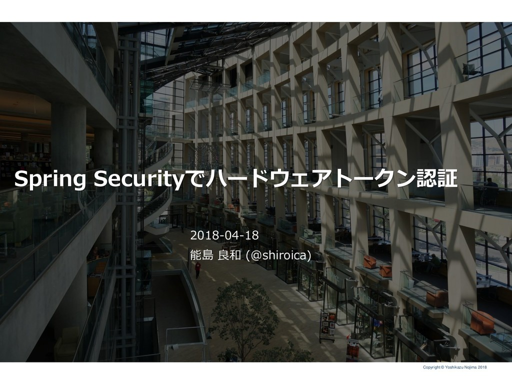 Copyright © Yoshikazu Nojima 2018 Spring Securi...