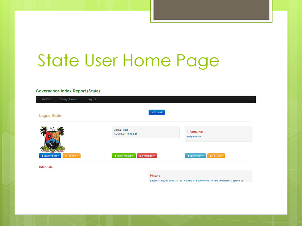 State User Home Page