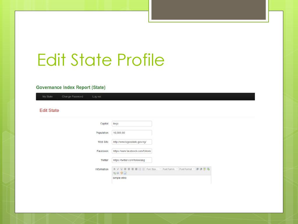 Edit State Profile