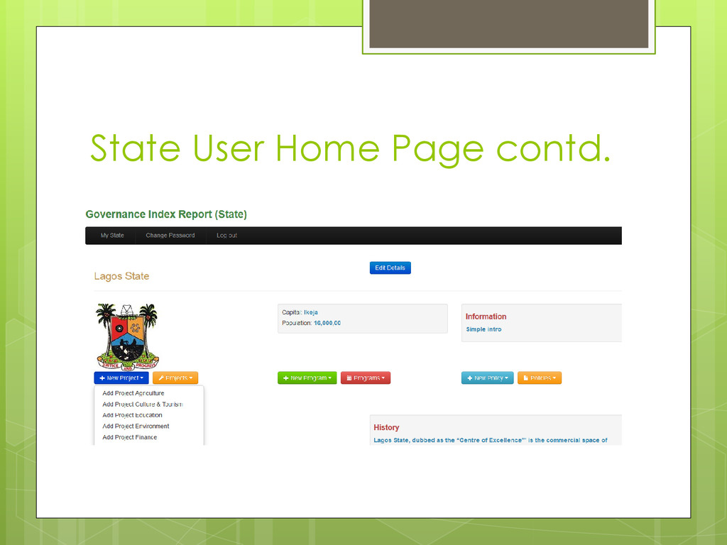 State User Home Page contd.