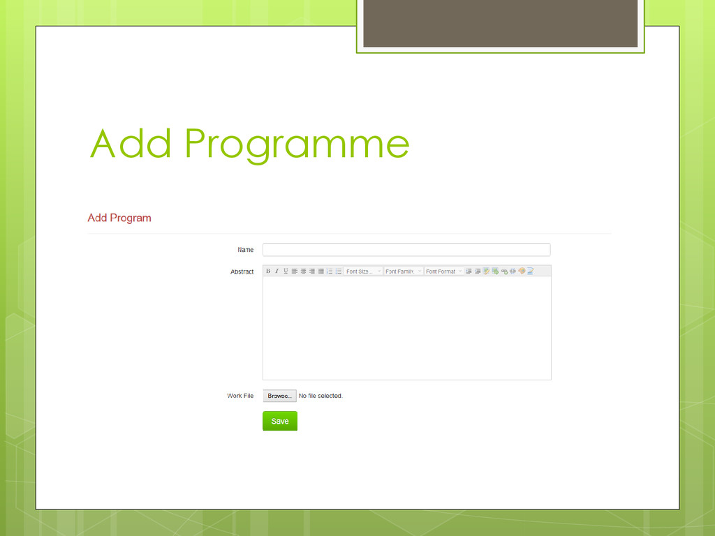 Add Programme