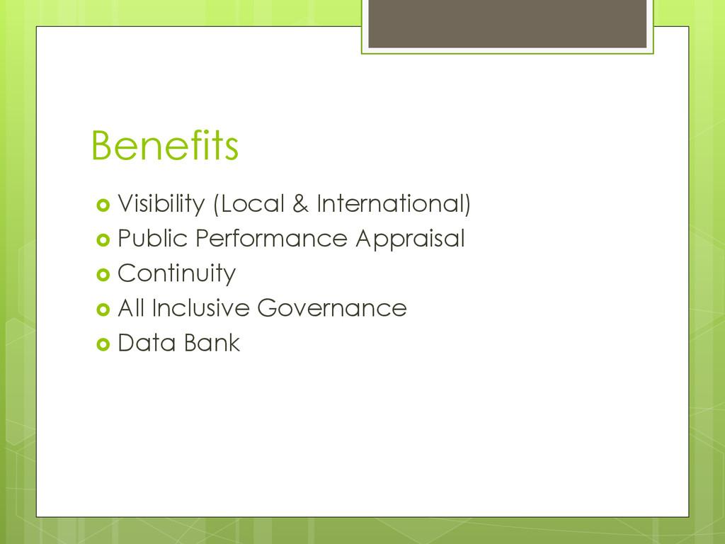 Benefits  Visibility (Local & International) ...