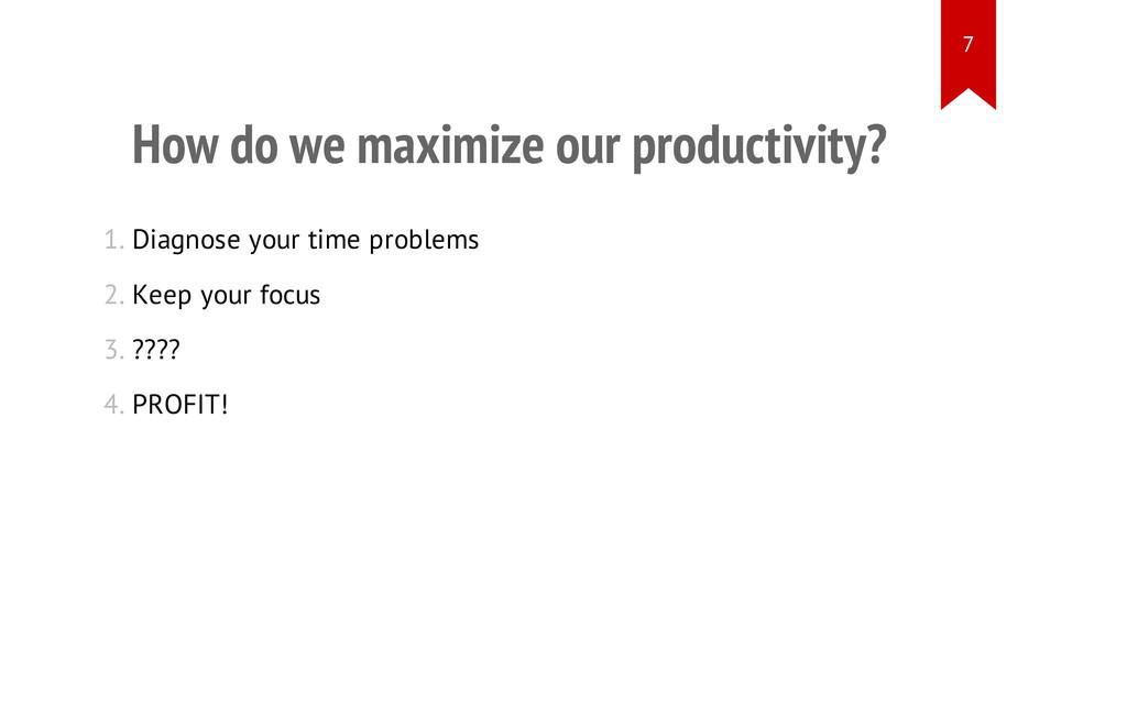 How do we maximize our productivity? 1. Diagnos...