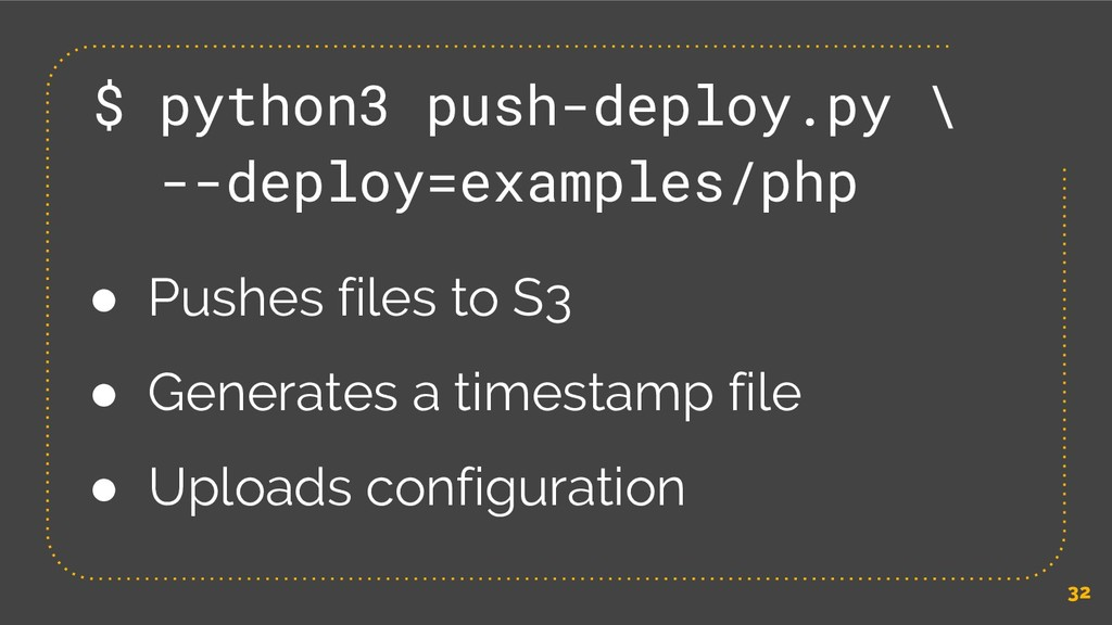32 $ python3 push-deploy.py \ --deploy=examples...