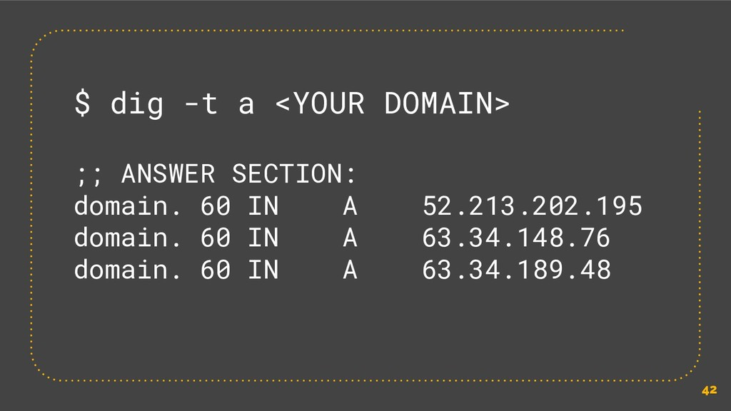 42 $ dig -t a <YOUR DOMAIN> ;; ANSWER SECTION: ...