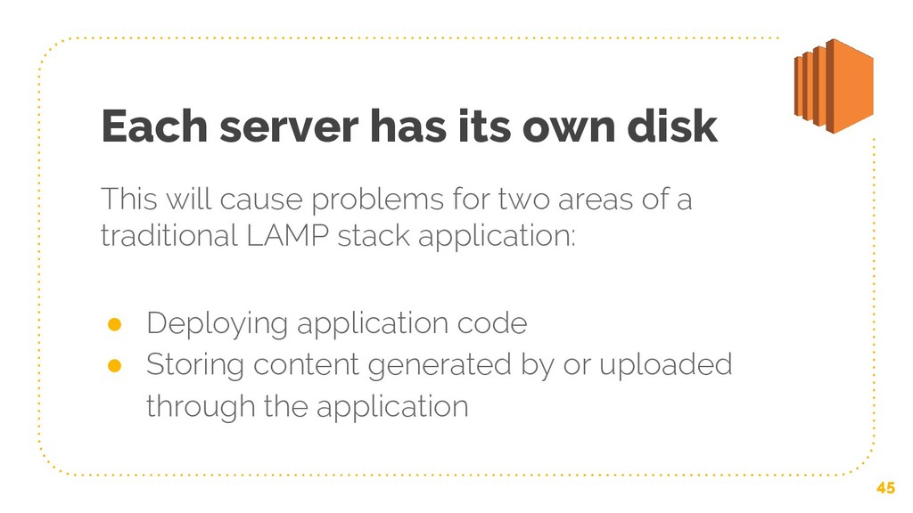 Each server has its own disk This will cause pr...