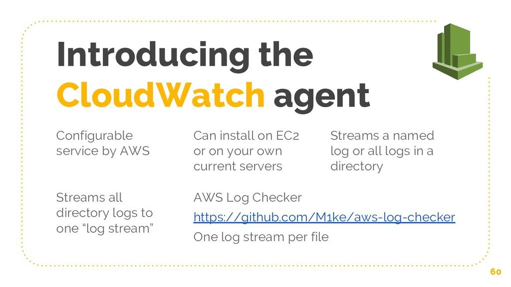Introducing the CloudWatch agent 60 Configurabl...