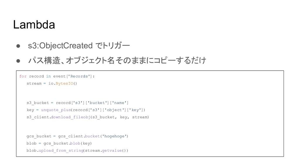 Lambda ● s3:ObjectCreated でトリガー ● パス構造、オブジェクト名そ...