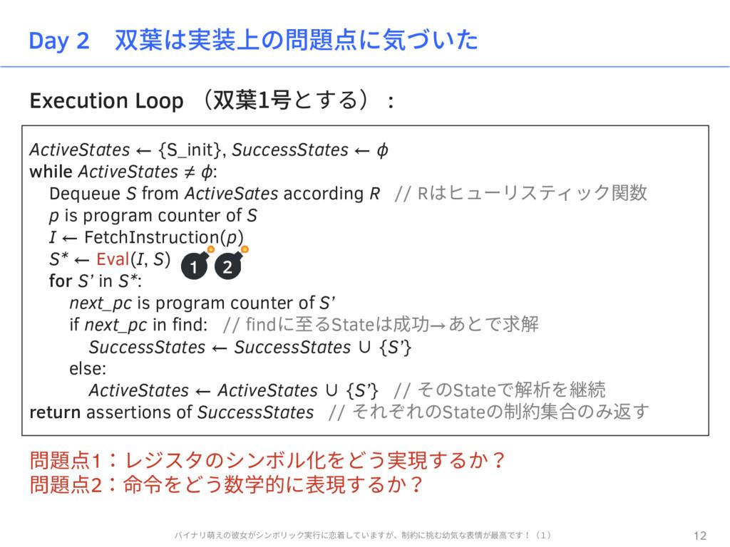 Execution Loop (双葉1号とする) : Day 2 双葉は実装上の問題点に気づい...