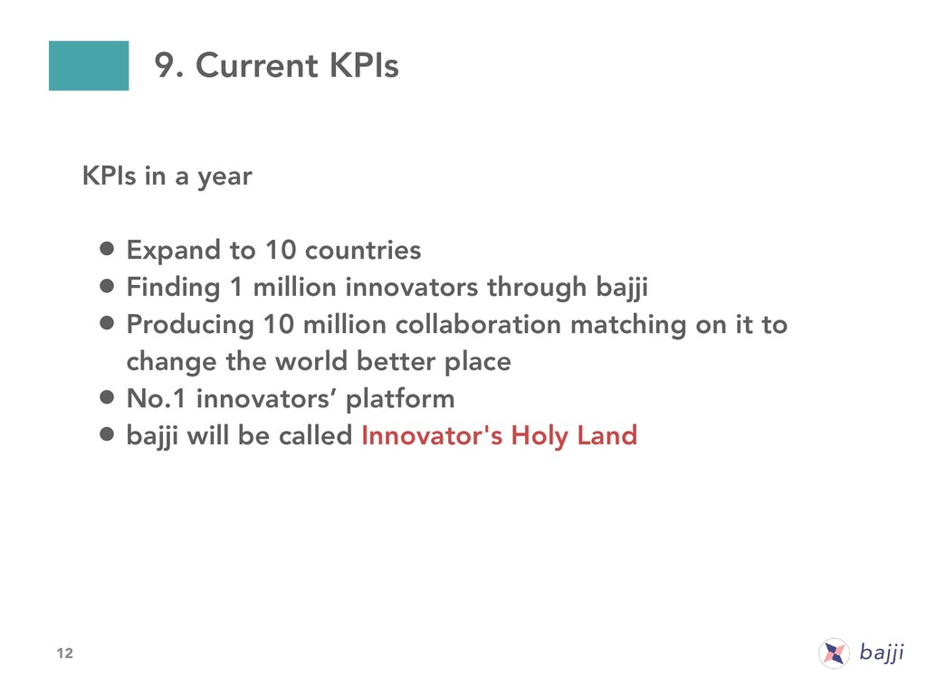 12 9. Current KPIs KPIs in a year • Expand to 1...