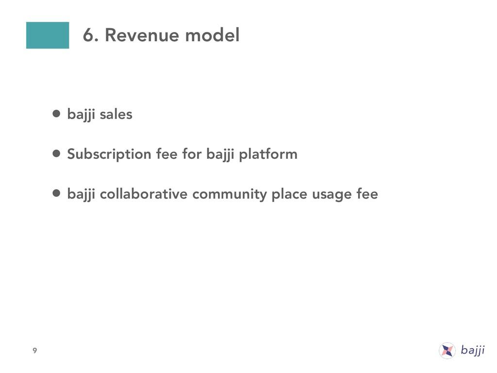9 6. Revenue model • bajji sales • Subscription...