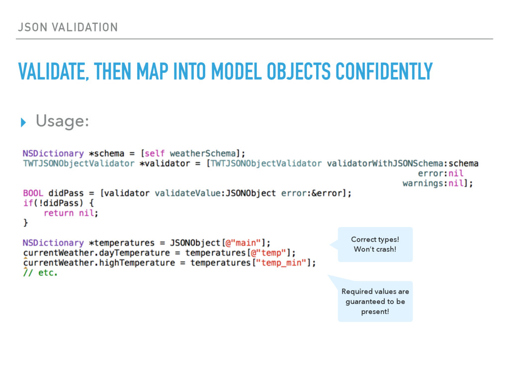 ▸ Usage: JSON VALIDATION VALIDATE, THEN MAP INT...
