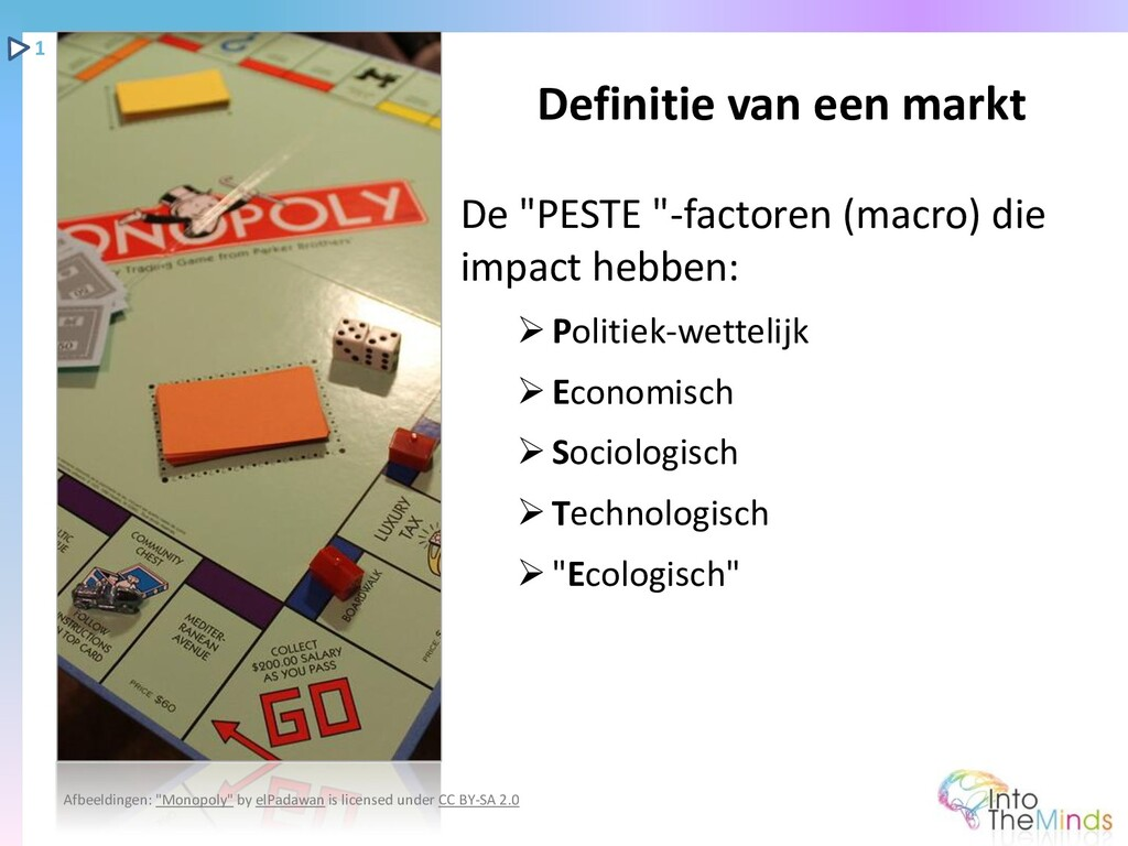 """De """"PESTE """"-factoren (macro) die impact hebben:..."""