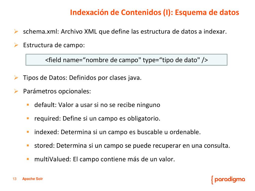 13 Apache Solr  schema.xml: Archivo XML que de...