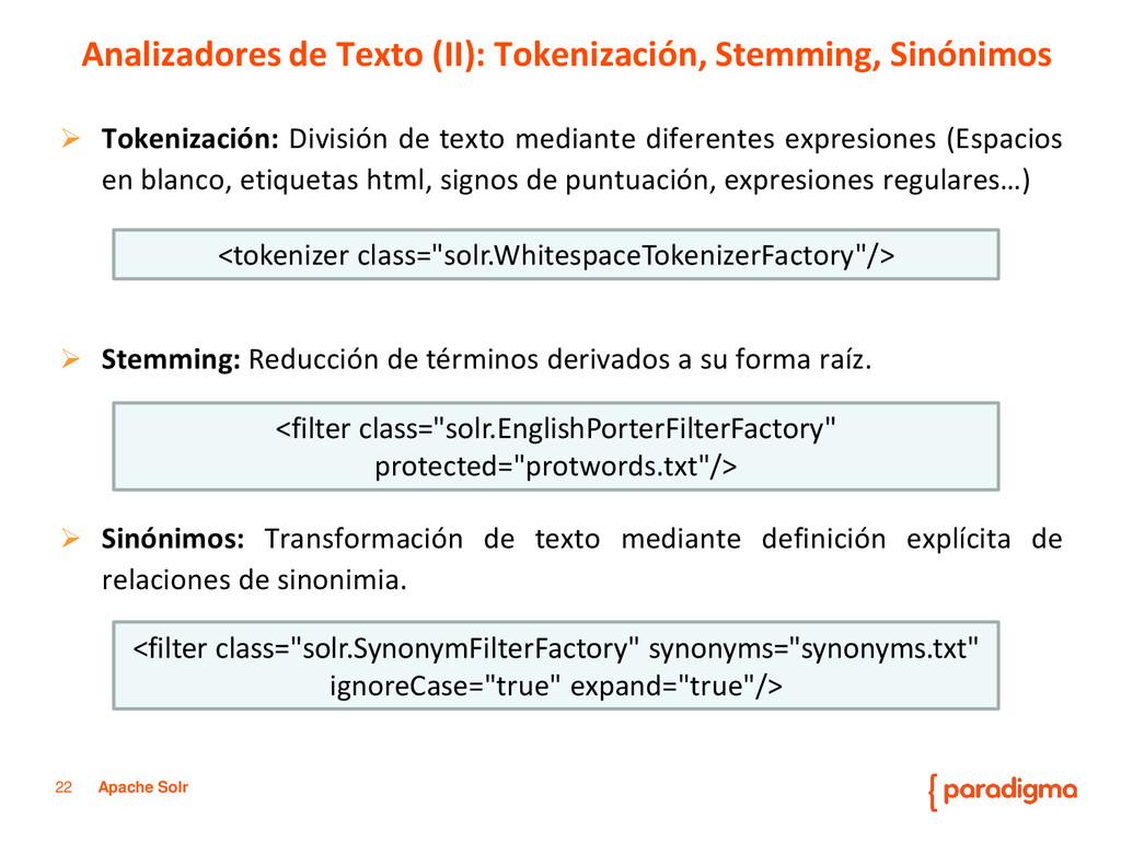 22 Apache Solr  Tokenización: División de text...