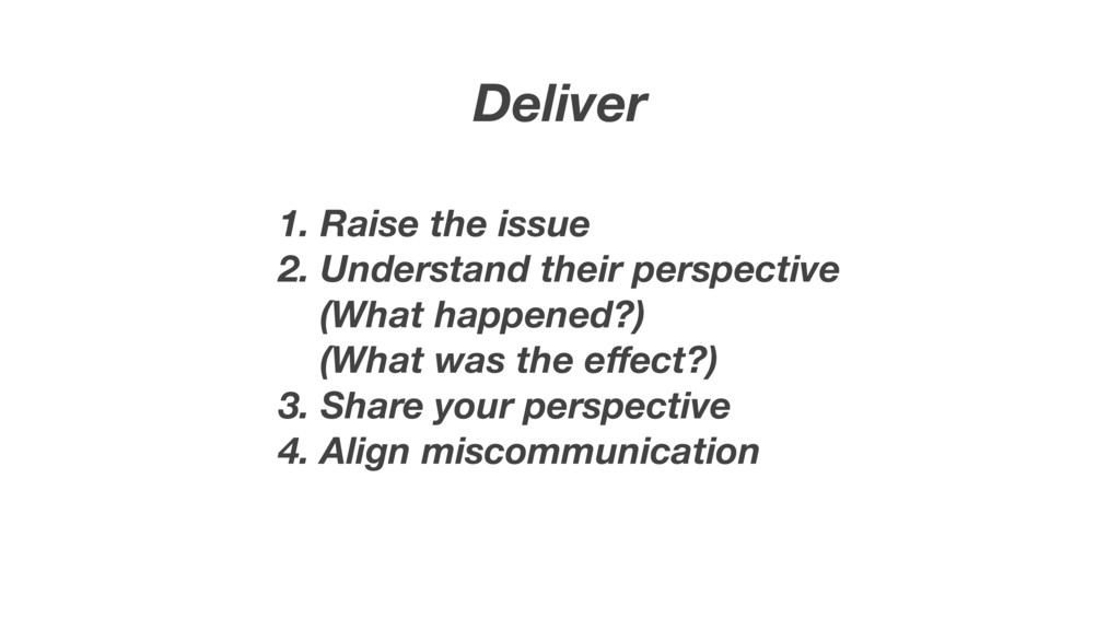 Deliver 1. Raise the issue 2. Understand their ...